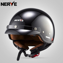 NERVE Motocicleta harely Moto capacete MEIO capacete capacete de Fibra De Vidro shell retro Jet harely com inner viseira óculos de sol DOT