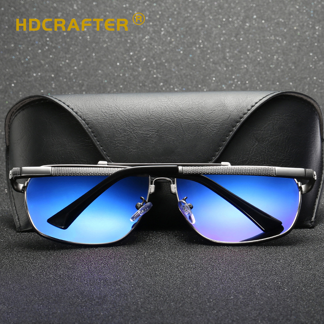 HDCRAFTER Square Men Sunglasses Polarized Spring Alloy Memory Frame Sun Glasses Man Retro Shades Accessories UV400