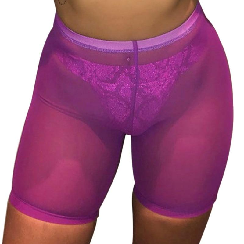 High Waist Women Beach Hot Shorts Beachwear Beach Mesh Cover Up Solid Color Women Swimwear Swimming Bahing Suit