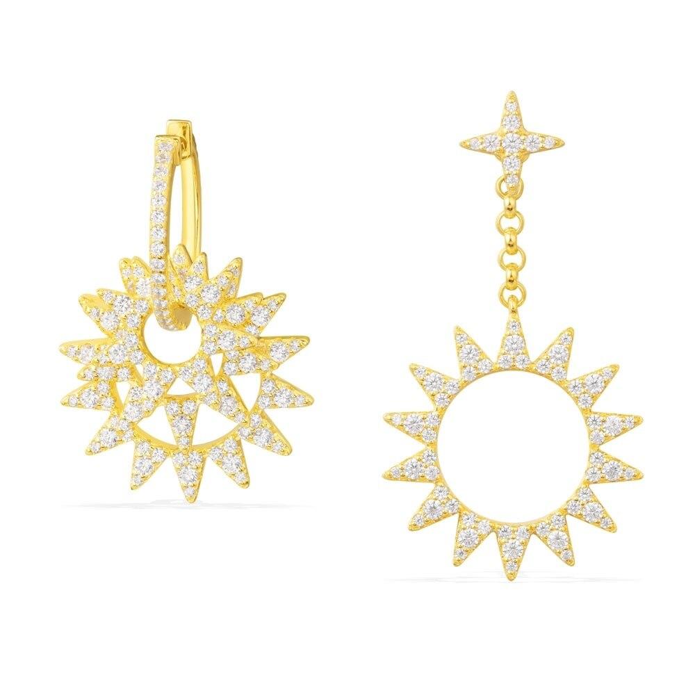 SLJELY 925 Sterling Silver Yellow Gold Color Asymmetry Sun AB Earrings Cubic Zirconia Women Monaco Fashion