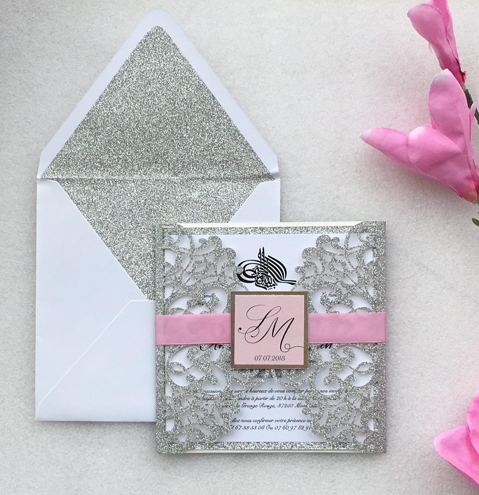 Customized Laser Cut Silver Wedding Party Invitations Card Marriage Engagement Invitation Cards 100 Sets Express Shipping
