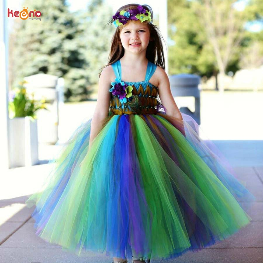 Keenomommy Fairy Peacock Girls Tutu Dress Kids Holiday Party Pageant Ball  Gown Flower Girls Dress Wedding Dress Vestido cd8c93edc914