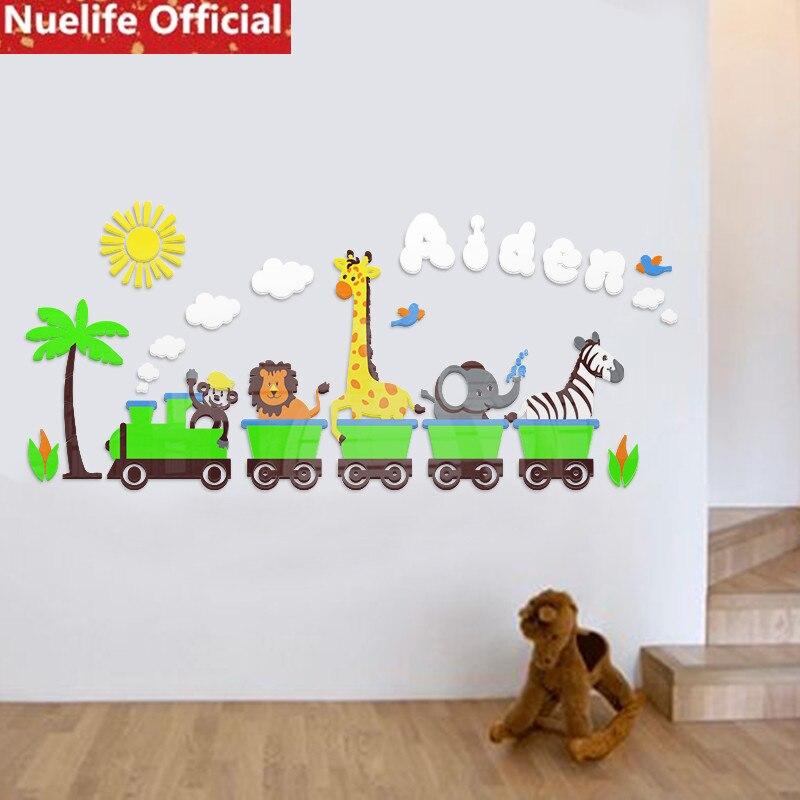 Grand dessin animé petit train motif animal acrylique mur autocollant enfants chambre maternelle salon chambre décoration mur autocollant