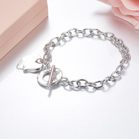 Luxury Famous Brand Jewelry Pulseira Bracelet &Bangle 925 stamped silver logo double Heart Love Tag Bracelet Jewelry For Women