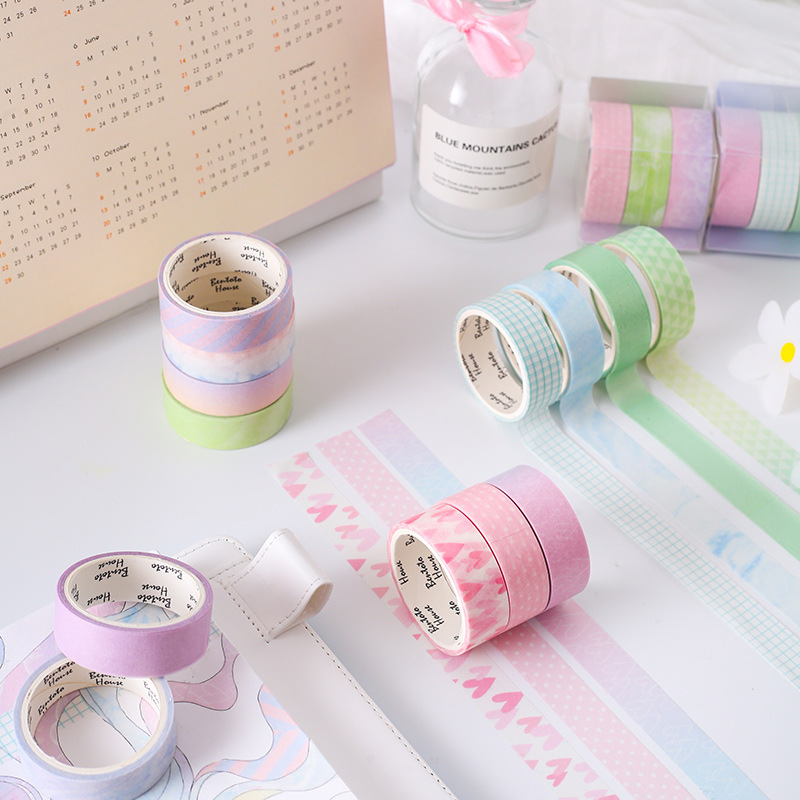 3pcs /Box Pricenss Pink Pearlescent Heart Dot Stripe Paper DIY Hand Account Decorative Washi Tape
