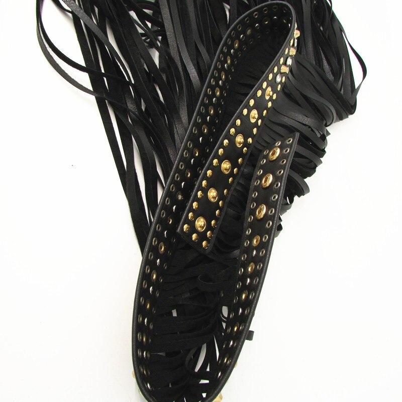 Fashion Bohemia Women Rhinestone leather Belts vintage Faux Leather Black Fringe Metal rivets Belt long Tassels femme accessorie