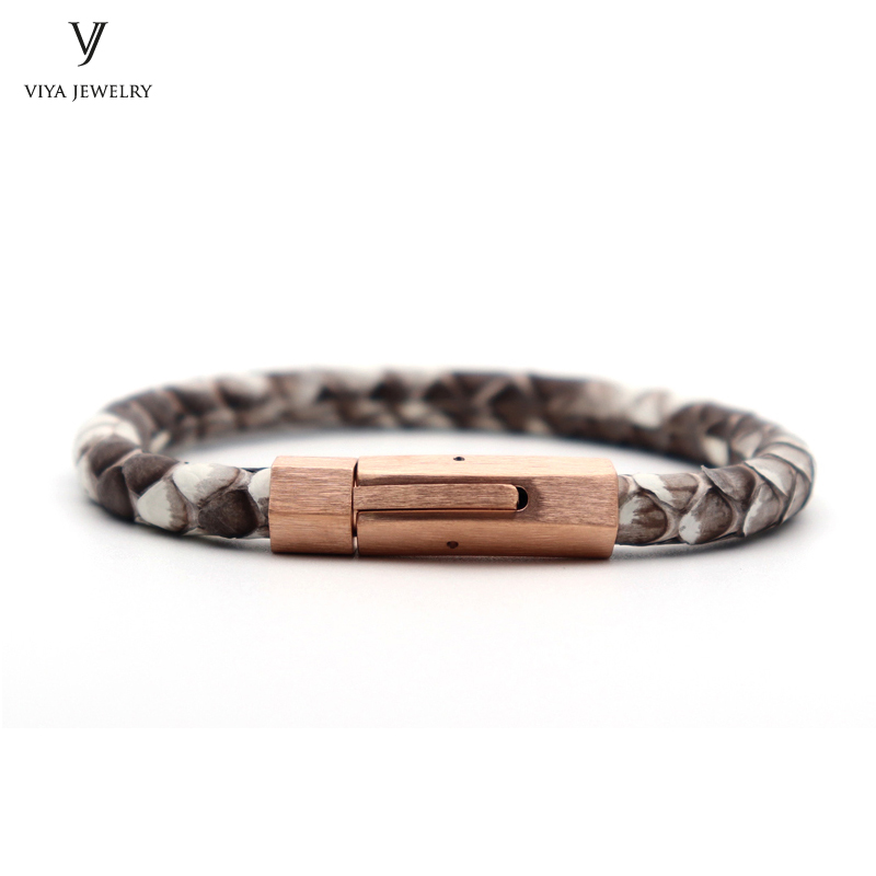 Trendy Men Charm Python Bracelet For Watch Brushed Surface Magnet Buckle With Genuine Natural Python Leather Bracelets For Men