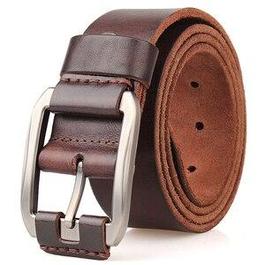 Image 1 - Cinghia degli uomini primo strato di pelle cintura di cuoio puro di modo della cinghia casuale degli uomini della cinghia di brown di colore pin fibbia di jean strap vintage cinto