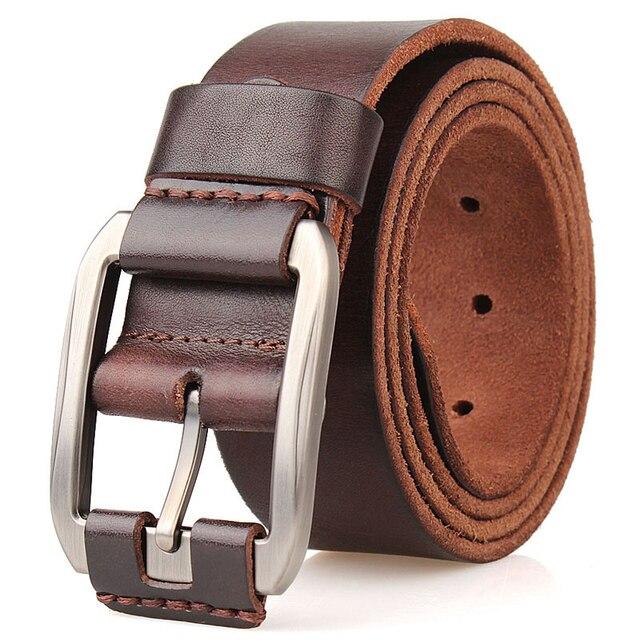 Cinghia degli uomini primo strato di pelle cintura di cuoio puro di modo della cinghia casuale degli uomini della cinghia di brown di colore pin fibbia di jean strap vintage cinto