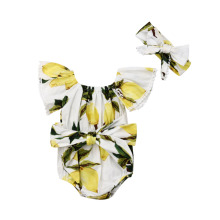 Pudcoco Summer Infant Toddler New born Baby  Girl  Lemon Off-Shoulder Bow Bodysuit +Butterfly knot Clothes Set Outfit  2019 цены