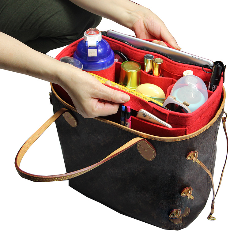 Customizable Felt Tote Organizer Bag in Bag (w Milk Water Bottle Holder)  Neverfull MM GM PM Speedy 30 25 35 40-in Cosmetic Bags   Cases from Luggage    Bags ... be94443a0e501