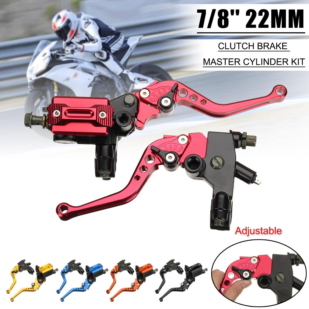 2 pcs 7/8 CNC Moto Universelle De Frein Maître-Cylindre D'embrayage Levier Câble D'embrayage Réservoir pour Scooter Sport Rue Dirt Bike