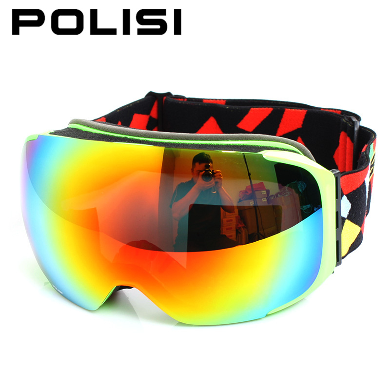POLISI Men Women Snowboard Snowmobile Goggles Skiing Skate Snow Glasses UV400 Replaceable 2 Lenses Anti-Fog Protective Eyewear polisi brand new designed anti fog cycling glasses sports eyewear polarized glasses bicycle goggles bike sunglasses 5 lenses