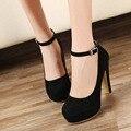 Envío de la Nueva Mujer Zapatos de tacón alto Zapatos de Boda Zapatos Rojos de Tacón Alto de Las Mujeres de Moda Plataforma Suede Sexy Hebilla cinturón de Bombas