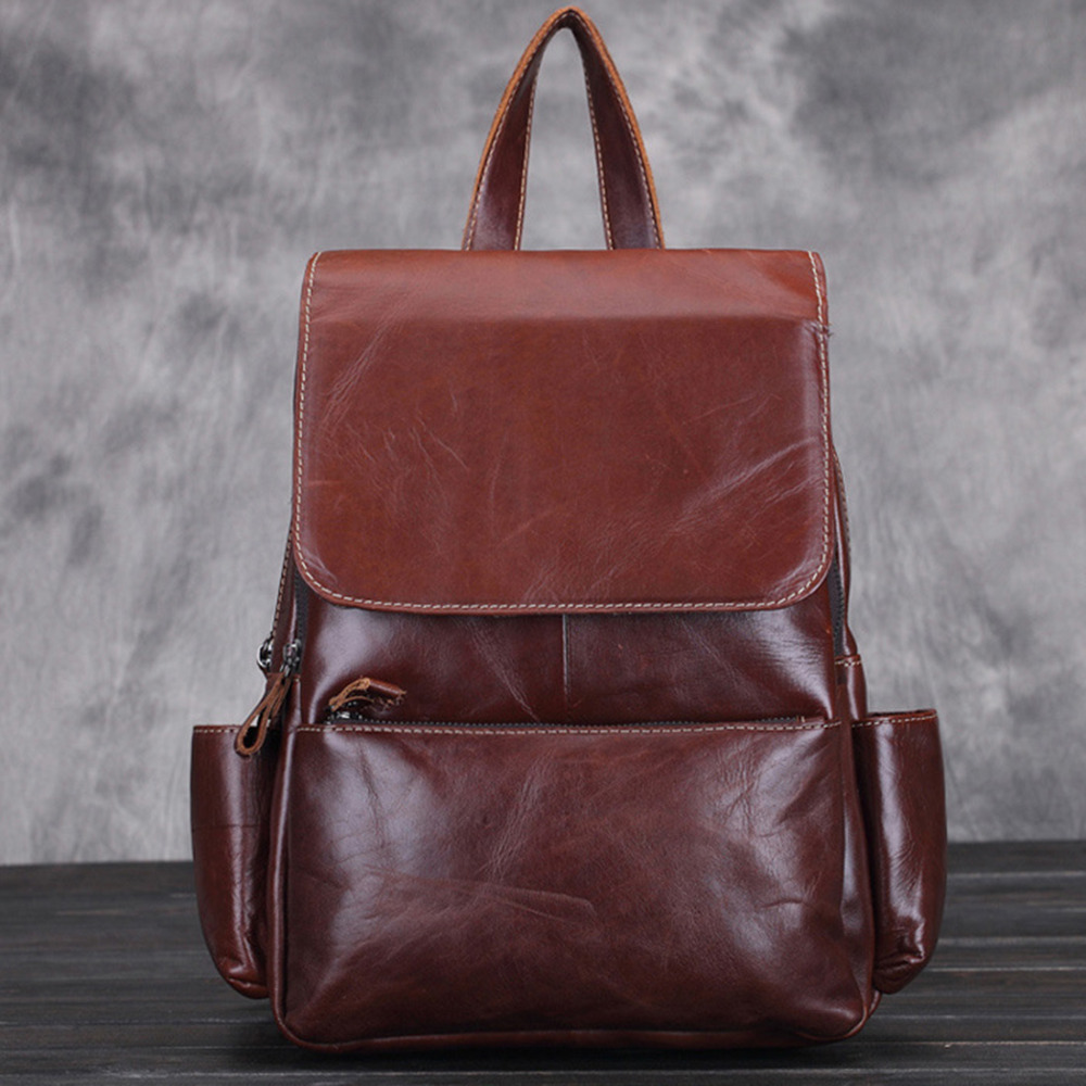 Vintage Cowhide Genuine Leather Backpacks For Women Big Capacity Daypack Exquisite Crafts Oil Wax Leather Rucksack High Quality