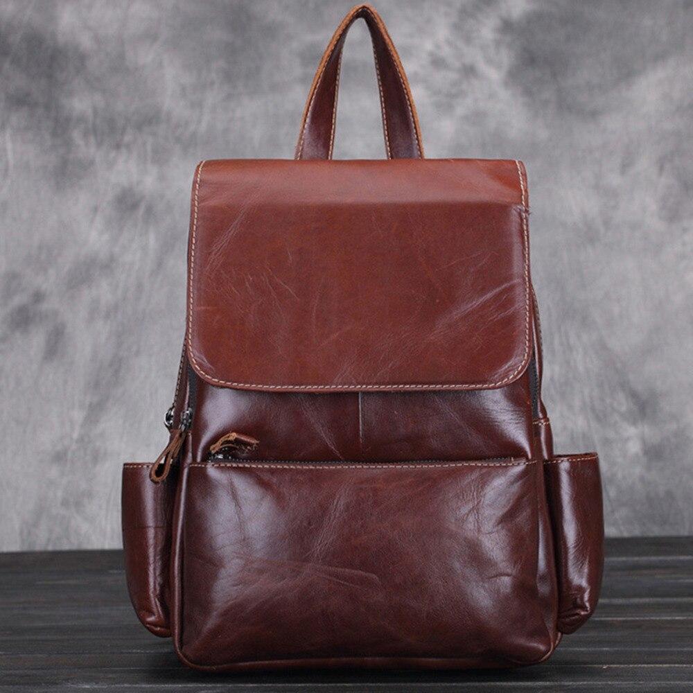 Vintage peau de vache en cuir véritable sacs à dos pour femmes grande capacité sac à dos artisanat exquis huile cire cuir sac à dos de haute qualité