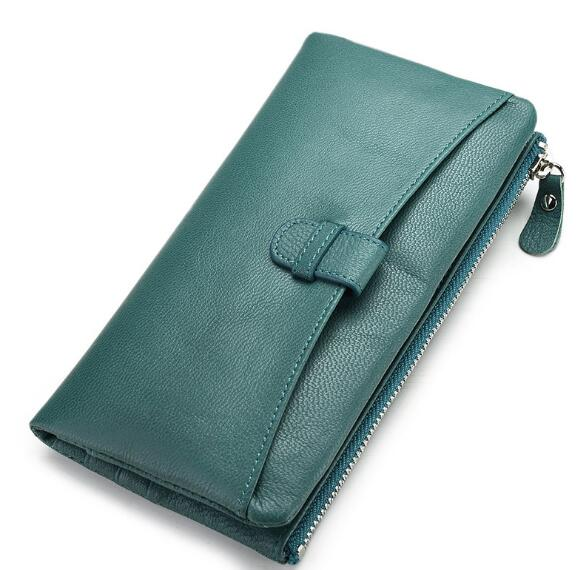 Classic genuine leather women long purse cow skin soft wallet high quality