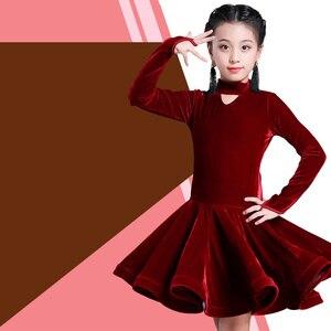Image 2 - Dzieci dziewczyna wino aksamitne sukienki latynoskie gimnastyka Dancewear konkurs strój do tańca sukienka do tańca towarzyskiego dla dzieci dla dziewczynek