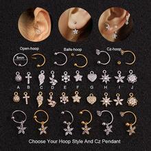 Feelgood DIY 10 stylów Cz wisiorek Dangle Hoop chrząstki kolczyk Helix wieży płata Ear Piercing biżuteria wybierz swój wykończenie tanie tanio Miedzi Moda Roślin Plug tunnel biżuterię Cyrkonia Śliczne Romantyczny Ciało biżuteria FGDIY-1 20g(0 8mm)*8mm 1 szt