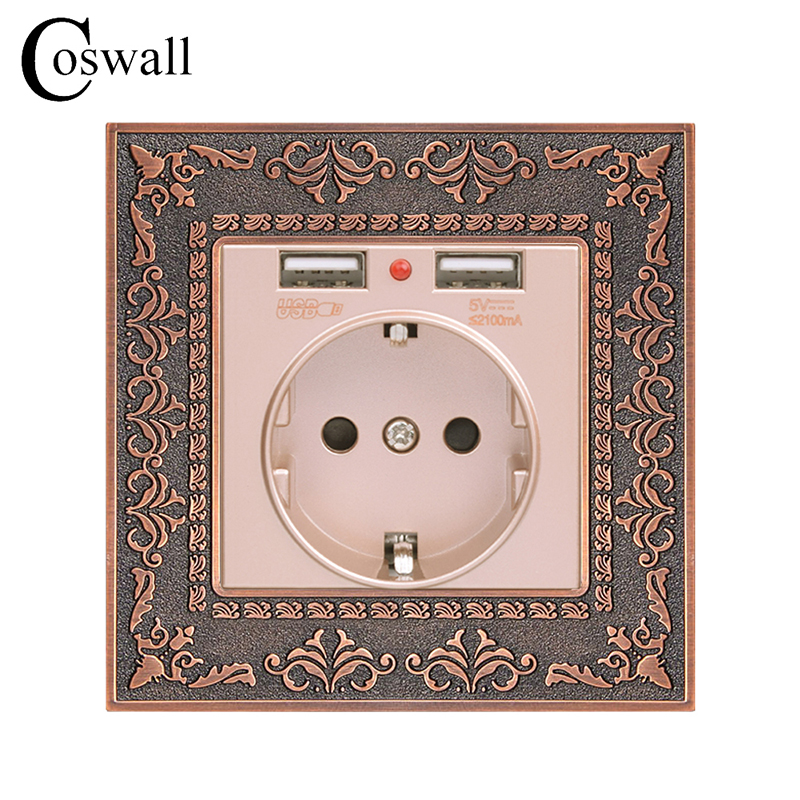 Coswall Zinc Alloy High-end Retro Panel 16A Gold EU Standard Power Wall Socket With Dual USB 2.1A Charging Port Embossed Panel