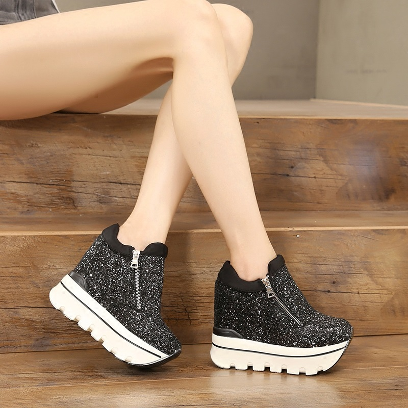 Women Sneakers Fashion Sequined Women Height Increasing Breathable Lace-Up Wedges Sneakers Platform Shoes Woman Casual Shoes 6