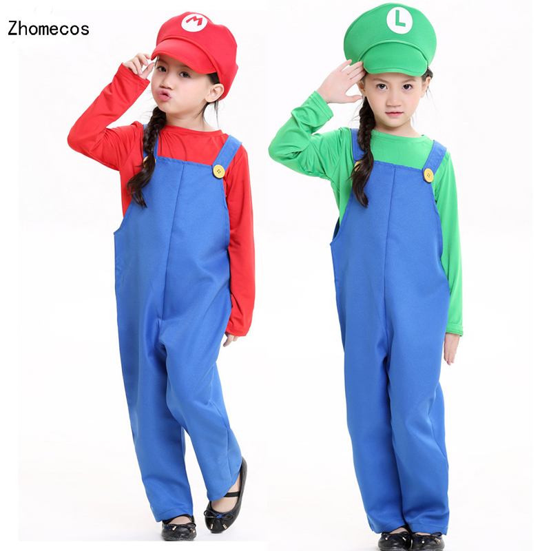 Chrildren's Super Mario Brothers Masquerade Costumes cosplay For Boys And Girls Halloween Party Size S M L