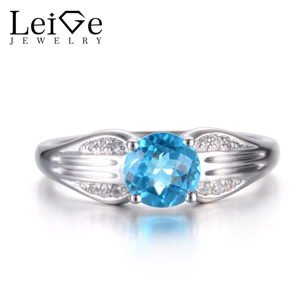 Leige Jewelry Real Swiss Blue Topaz Rings Engagement Rings Blue Gems Rings November Birthstone 925 Sterling Silver Wedding Gifts термокружка gems 470ml blue topaz 1907 77