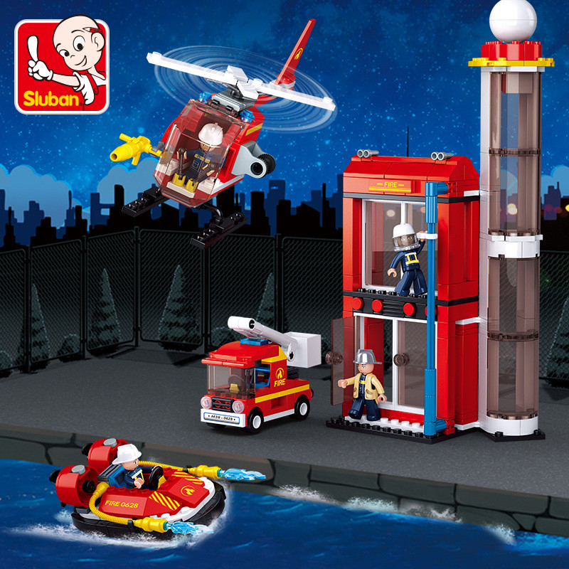 425Pcs City Fire Training Building Blocks Sets Fighting Helicopter Car Bricks DIY Toys for Children