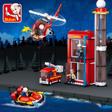 425Pcs City Fire Training Building Blocks Sets Fire Fighting Helicopter Car Bricks DIY Toys for Children недорого