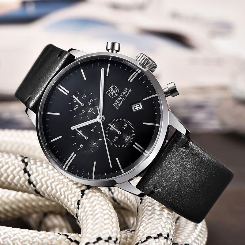 Relojes BENYAR para hombre, relojes de lujo de marca Gold Quartz para hombre, cronógrafo para hombre, reloj de moda de cuero resistente al agua, reloj - 4