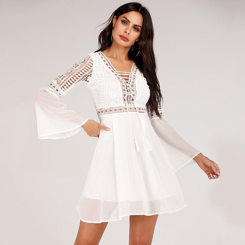 Hollow Out White Dress Sexy Women Mini Chiffon Dress 34