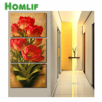 diy 5d diamond embroidery 3 Pcs Flowers Wall Art Picture Modern Home Decoration ,5d diamond Painting mosaic style Wall Pictures
