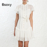 600cafe81fc Runway Brand Designer Summer Dress 2019 Single Breasted Ruffle Short Sleeve  CORSAGE VEIL White Dress Moda