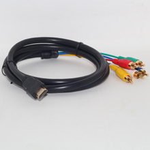 24 K pozłacane złącza dla lepszego transferu sygnału Full HD 1080 P HDMI męski na 5 RCA RGB Audio wideo AV kabel komponentowy 0508