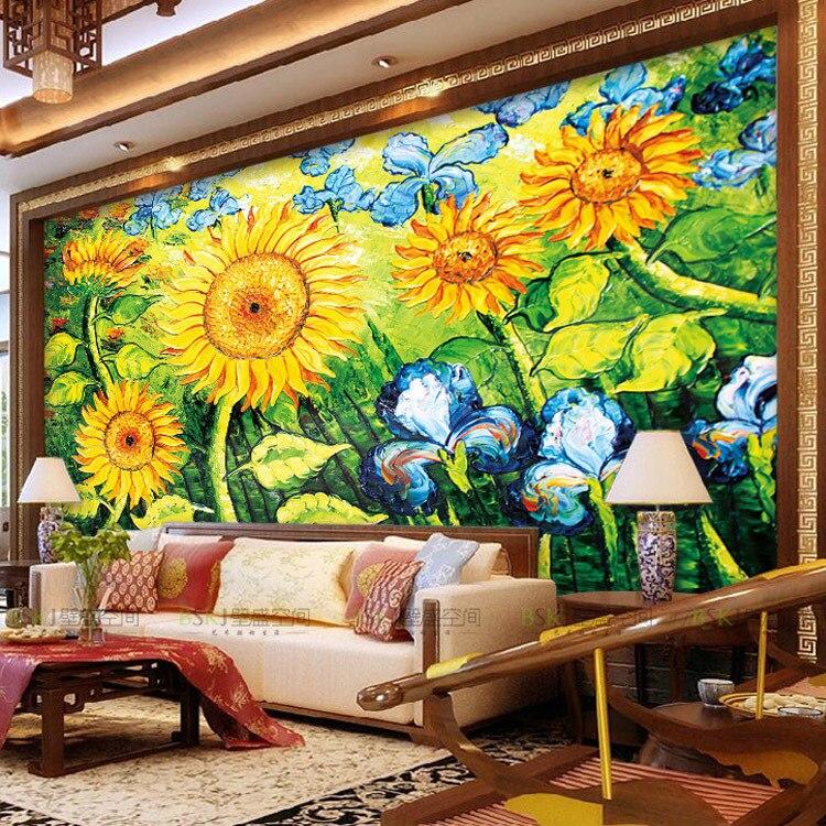 Aliexpress.com Comprar Moda gran mural de flores pintura al óleo de televisión de fondo pintado pared ktv wallpaper girasol de de silicona girasol