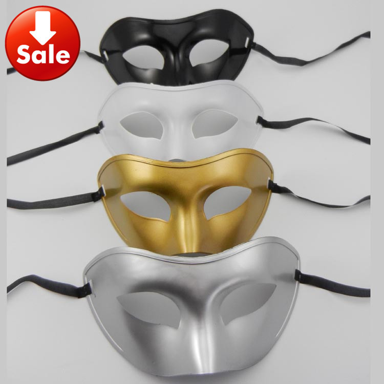simple Party mask venetian masquerade prom dress wedding party mask gold silver white black four color free shipping 50pcs