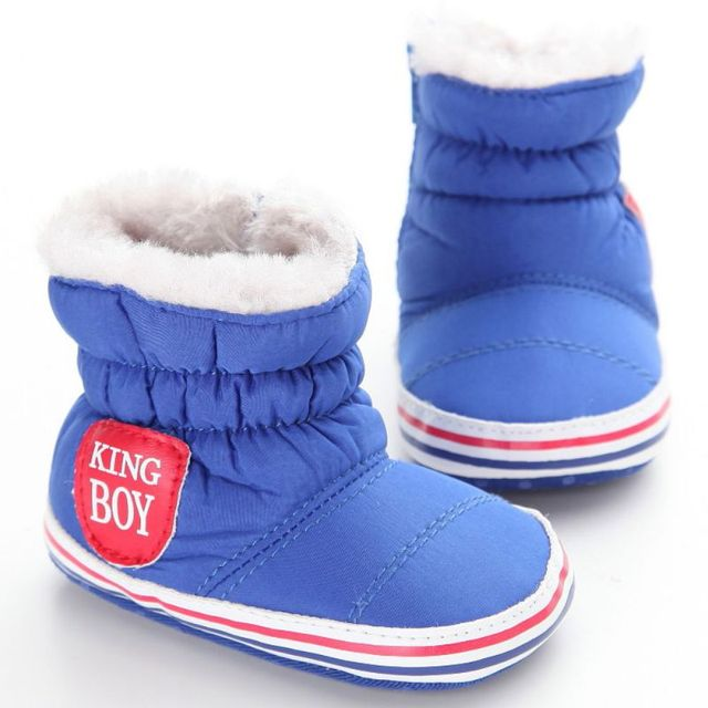 c3962612a Plush+Flock+Cotton Fabric Baby Boy Snow Boots Warm Plush Winter Navy ...