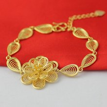 Браслет из филиграни с цветами цепочка жёлтое золото красивый