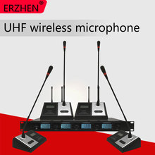 ERZHEN 4400GT UHF 4 Handheld Wireless Microphone Dynamic Capsule Family Party Balanced+Unbalanced Output Wireless Microphone+KTV все цены