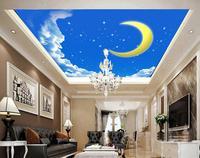 Custom Photo Wallpaper 3D Stereoscopic Sky Clouds Meteor Moon Ceiling 3d Wallpaper Mural Non Woven Wallpaper