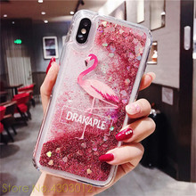 Liquid Quicksand Flamingo Animal Phone Case For iPhone 7 8 Plus 6 6S X 10 XR XS Max Bling Dynamic Love Hearts Sequins Back Cover