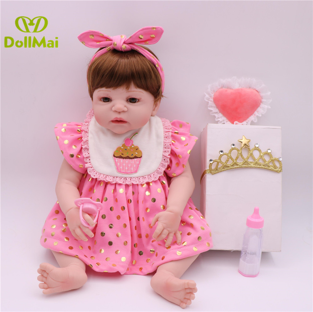 silicone Reborn Baby Doll 55cm Vinyl Lifelike Infant Educational doll with Pretty polka dot powder skirt Toys Kids Playmate giftsilicone Reborn Baby Doll 55cm Vinyl Lifelike Infant Educational doll with Pretty polka dot powder skirt Toys Kids Playmate gift