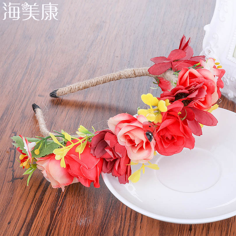 Haimeikang New Spring Wedding Floral Crown Head Band Kids Party Wreath Floral Garlands Ladybug Flower Crown Rose for Women