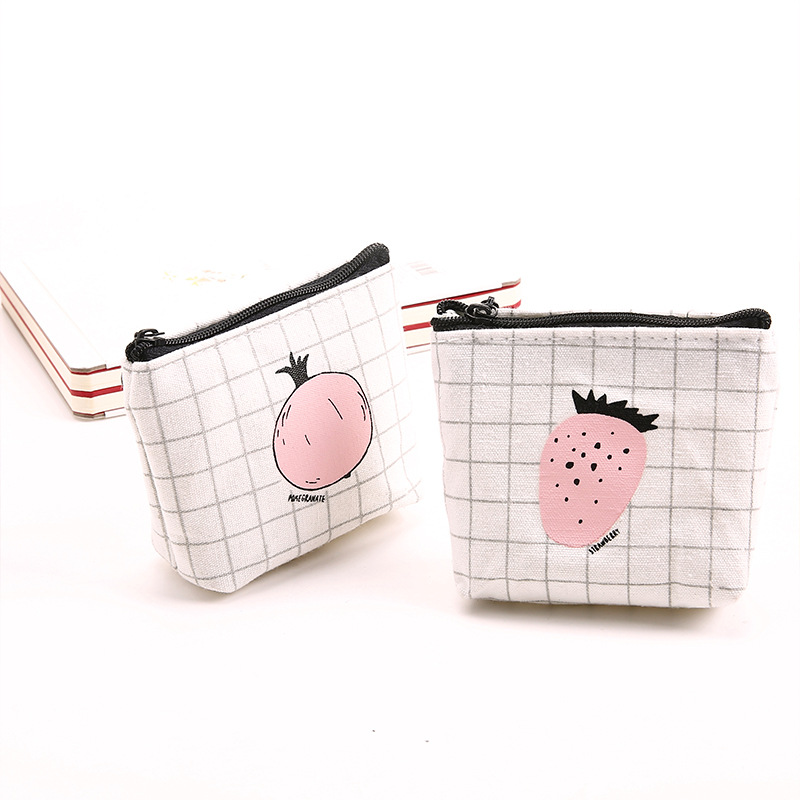 Wulekue Fruit Style Coin Purse Wallet Women Small Canvas Bags Cartoon Strawberry Money Key Holders Pouch Zipper Bag