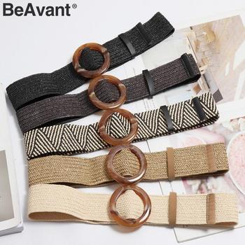BeAvant Bohemian Style Wide Belt For Women Straw Buckle Sash Belt Dress Decoration Belt Casual Female Braided Wide Strap Belts