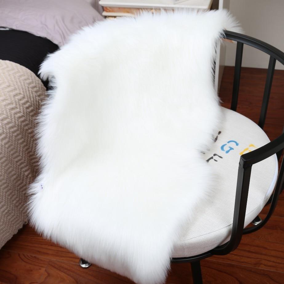 Tapis doux maison en peau de mouton chaise couverture tapis laine artificielle plaine moelleux tapis chambre couverture tapis pour enfants salon Tapete - 2