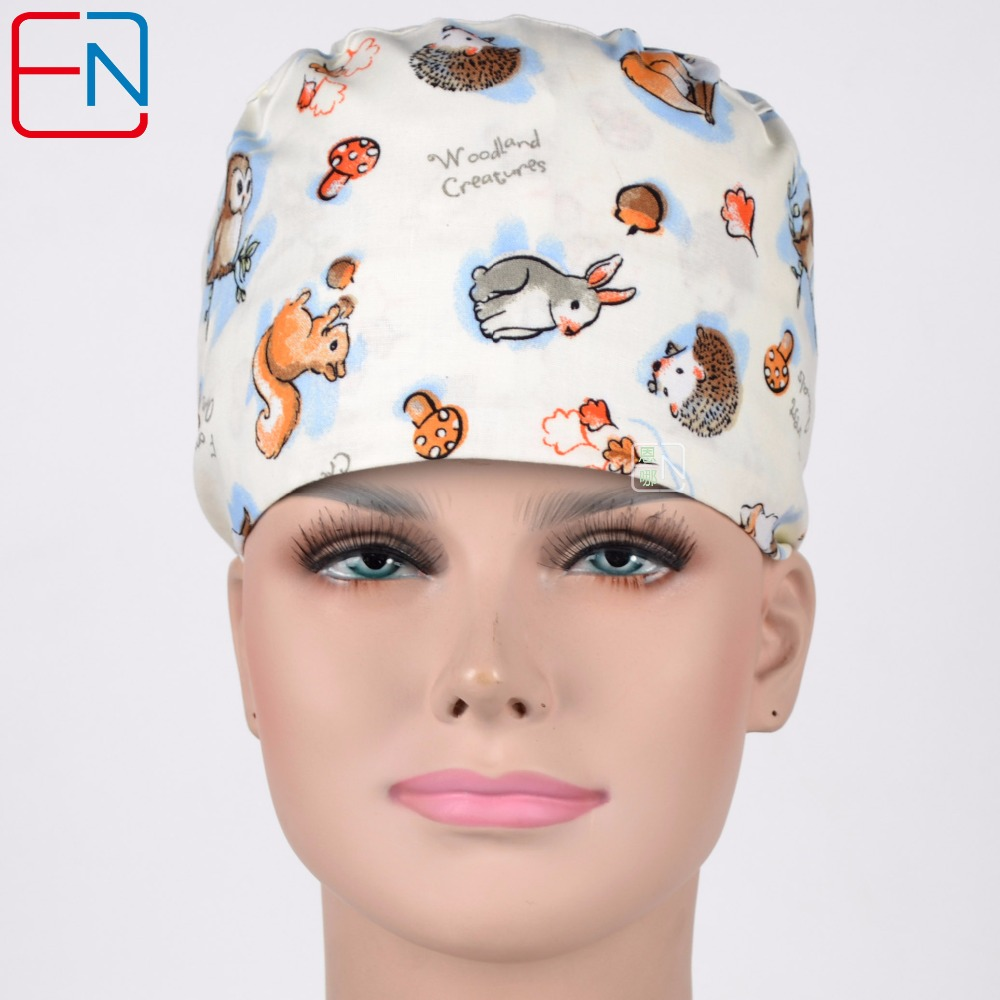 Hennar Scrub Caps 2018 New Hospital Medical Surgical Caps Masks 100% Cotton Animals Printed Scrub Operation Caps One Size Unisex