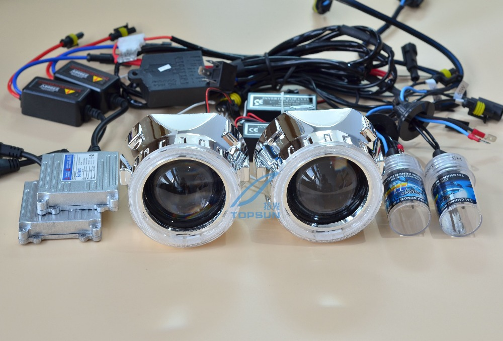 GZTOPHID Car styling 35W H1 HID Bulb and ballast,2.5 inch Projector Bi-Xenon Headlamp Lens With CCFL angel eyes and Shroud