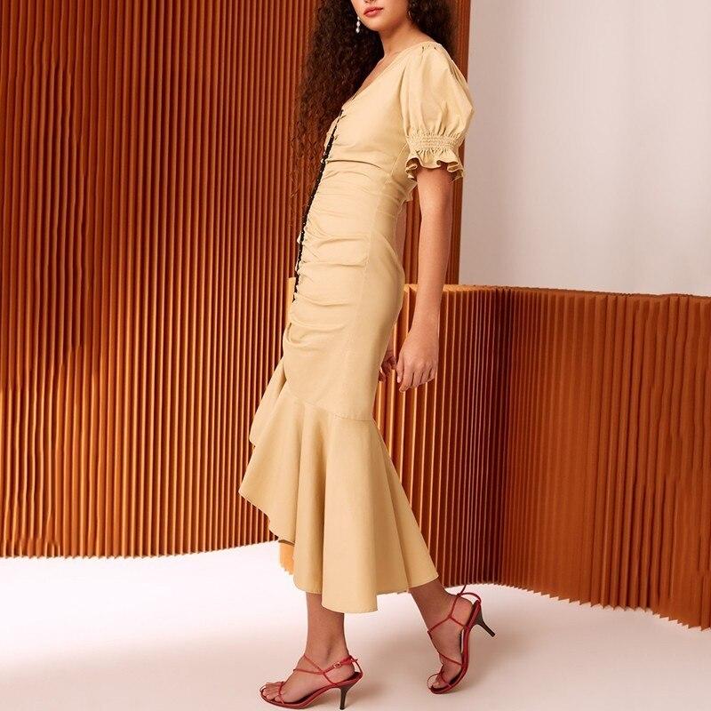 TWOTWINSTYLE Womens Dresses V Neck Puff Short Sleeve Tunic Irregular Mermaid Dress Female 2019 Spring Elegant Fashion Clothes