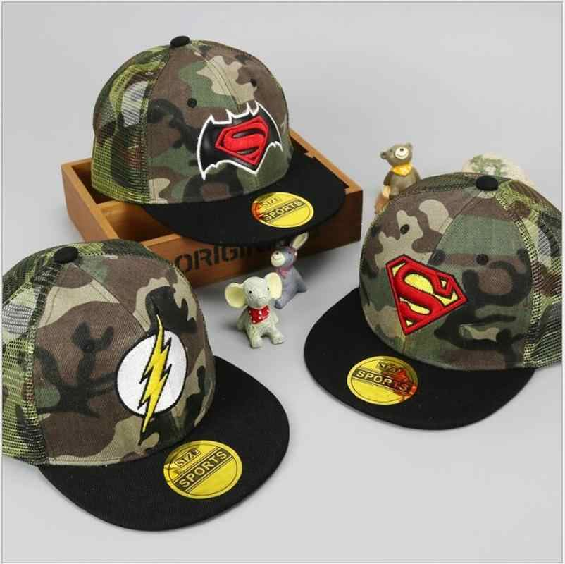 Kids Superman Camouflage Baseball Caps Hip Hop Cap Children Boys Girls Flat  Hats Snapback e25d1275381b